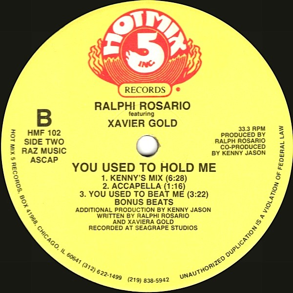 Ralphi Rosario Featuring Xavier Gold - You Used To Hold Me